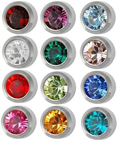 5. Surgical Steel 4mm Ear piercing Earrings studs 12 pair Mixed Colors White Metal by Caflon