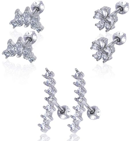 8. Justme JM 3 Pairs Stainless Steel Ear Cartilage Earrings for Women